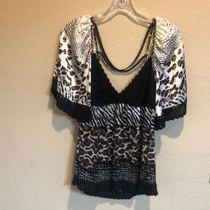BeBe Animal Print Blouse